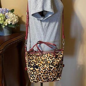 KATE LANDRY Leopard Print Pony Hair Crossbody Bag